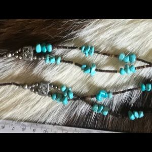 NativeAmerican Turquoise chunk-and helshi necklace
